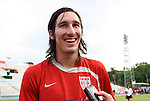 05 September 2008: U.S. midfielder Sacha Kljestan talks to the media after practice. The United States Men's National Team held a training session at Estadio Nacional de Futbol Pedro Marrero in Havana, Cuba in preparation for their 2010 FIFA World Cup Qualifier against Cuba the next day.