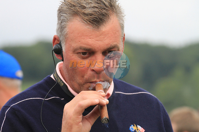 2010 Ryder Cup at the Celtic Manor twenty ten course, Newport Wales, 30/9/2010 Practice Day 3..Darren Clarke enjoying the moment..Picture Fran Caffrey/www.golffile.ie.
