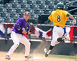 SIOUX FALLS, SD - MAY 24:  Payton Jeffers #20 from Western Illinois catches the ball at first as Aiden Hook #8 from NDSU is out on the play in the third inning of the 2014 Summit League Baseball Championship game Saturday afternoon at the Sioux Falls Stadium. (Photo by Dave Eggen/Inertia)