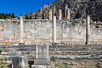 Athenian Stoa (478 B.C.), Polygonal Wall (6th cent. B.C.) in Delphi, Greece