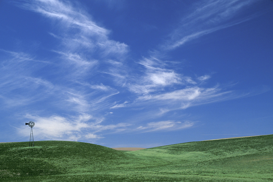 Windmill in wheat fields below blue sky with clouds, Palouse area, Washington.