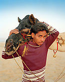 INDIA, Rajasthan, camel cart driver with his camel, Pushkar Camel Fair
