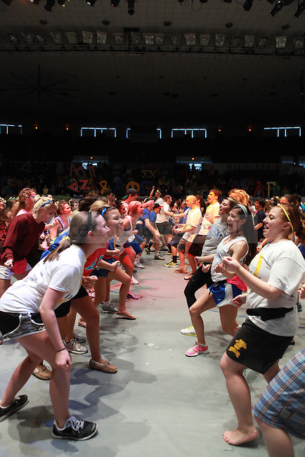 Students dance the hourly line dance at DanceBlue 2013 at Memorial Hall in Lexington, Ky. on Saturday, February 23, 2013. Photo by Emily Wuetcher | Staff..