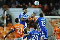 Blackpool's Jay Spearing vies for possession with Gillingham's Jordan Roberts and John Akinde<br /> <br /> Photographer Kevin Barnes/CameraSport<br /> <br /> The EFL Sky Bet League One - Blackpool v Gillingham - Tuesday 11th February 2020 - Bloomfield Road - Blackpool<br /> <br /> World Copyright © 2020 CameraSport. All rights reserved. 43 Linden Ave. Countesthorpe. Leicester. England. LE8 5PG - Tel: +44 (0) 116 277 4147 - admin@camerasport.com - www.camerasport.com