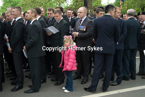 Combined Cavalry Old Comrades Association and parade Hyde Park London UK. Father and daughter.