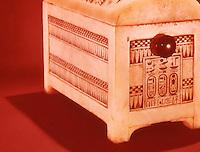 Egypt:  Painted Casket--alabaster.  Treasures of Tutankhamun, Cairo Museum.  MMA 1976.