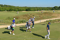 Joaquin Niemann (CHL), Seamus Power (IRL), and Sam Ryder (USA) head down 11 during round 1 of the AT&T Byron Nelson, Trinity Forest Golf Club, at Dallas, Texas, USA. 5/17/2018.<br /> Picture: Golffile | Ken Murray<br /> <br /> <br /> All photo usage must carry mandatory copyright credit (© Golffile | Ken Murray)