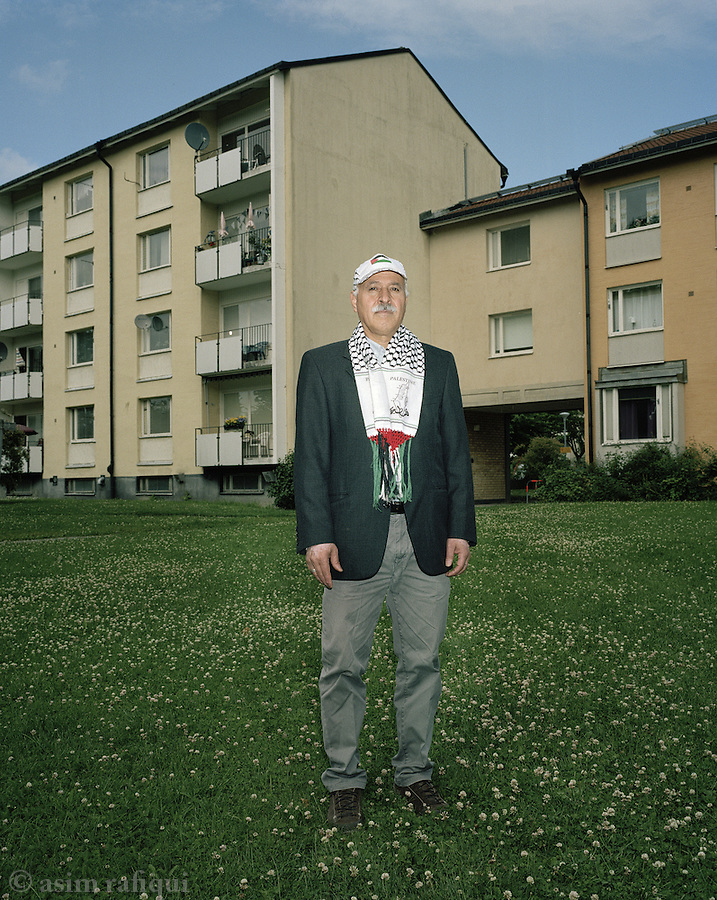 Amil Sarsour, from Safad, Palestine, whose family left their home city of Safad in 1948. Amil was born in the camps in a refugee camp in Syria in 1956. A dedicated activist, Amil stands in his standard protest and public action outfit, just outside his apartment in Uppsala