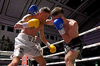 Sean Robinson (black shorts) draws with John Brennan during a Boxing Show at York Hall on 29th June 2019