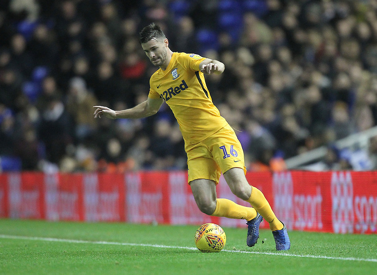 Preston North End's Andrew Hughes <br /> <br /> Photographer Mick Walker/CameraSport<br /> <br /> The EFL Sky Bet Championship - Birmingham City v Preston North End - Saturday 1st December 2018 - St Andrew's - Birmingham<br /> <br /> World Copyright © 2018 CameraSport. All rights reserved. 43 Linden Ave. Countesthorpe. Leicester. England. LE8 5PG - Tel: +44 (0) 116 277 4147 - admin@camerasport.com - www.camerasport.com