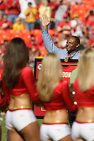 Warren Moon is honored for his 2006 induction into the Pro Football Hall of Fame in a ceremony prior to the game between the Seattle Seahawks and the Chiefs at Arrowhead Stadium  in Kansas City, Missouri on October 29, 2006. Kansas City won 35-28.