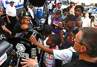 May 30, 2013; Englishtown, NJ, USA: NHRA top fuel dragster driver Antron Brown during qualifying for the Summer Nationals at Raceway Park. Mandatory Credit: Mark J. Rebilas-