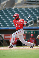 Washington Nationals Eric Senior (10) at bat during an Instructional League game against the Miami Marlins on September 25, 2019 at Roger Dean Chevrolet Stadium in Jupiter, Florida.  (Mike Janes/Four Seam Images)