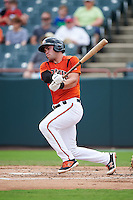 Bowie Baysox catcher Austin Wynns (18) at bat during the first game of a doubleheader against the Akron RubberDucks on June 5, 2016 at Prince George's Stadium in Bowie, Maryland.  Bowie defeated Akron 6-0.  (Mike Janes/Four Seam Images)