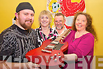 Harry Cunningham, left, and Caroline Killeen, KDYS Band Project co-ordinator pictured as they received a guitar from Anne Buckley and Robert Quinlan, Freya Guitars, Firies, as part of their workshop on vintage guitars in the Killarney KDYS on Tuesday evening.
