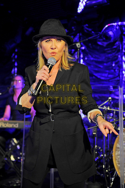 Lulu (Lulu Kennedy-Cairns) performing in concert, Under The Bridge, Stamford Bridge Football Ground, London, England, UK, <br /> 4th October 2013.<br /> music live in concert gig on stage half length hat singing microphone black suit jacket <br /> CAP/MAR<br /> &copy; Martin Harris/Capital Pictures