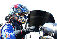 Sept. 22, 2013; Ennis, TX, USA: NHRA top fuel dragster driver Antron Brown during the Fall Nationals at the Texas Motorplex. Mandatory Credit: Mark J. Rebilas-