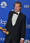 Brad Pitt 128 poses in the press room with awards at the 77th Annual Golden Globe Awards at The Beverly Hilton Hotel on January 05, 2020 in Beverly Hills, California.