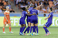 Houston, TX - Saturday June 17, 2017: Alanna Kennedy celebrates her goal with her teammates during a regular season National Women's Soccer League (NWSL) match between the Houston Dash and the Orlando Pride at BBVA Compass Stadium.