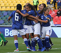 BOGOTÁ- COLOMBIA,14-07-2019:Angie Castañeda jugadora de Millonarios femenino  celebra despué de anotar un gol a la  Equidad femenino  durante el primer partido de la Liga Águila Femenina 2019 jugado en el estadio Nemesio Camacho El Campín de la ciudad de Bogotá. /Angie Castaneda player of Millonarios womens team celebrates after scoring a goal  against of Equidad during the firts match for the Liga Aguila women  2019 played at the Nemesio Camacho El Campin stadium in Bogota city. Photo: VizzorImage / Felipe Caicedo / Staff