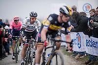 Defending Champion Peter SAGAN (SVN/BORA-Hansgrohe) over the infamous Carrefour de l' Arbre cobbles<br /> <br /> 117th Paris-Roubaix 2019 (1.UWT)<br /> One day race from Compiègne to Roubaix (FRA/257km)<br /> <br /> ©kramon