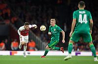 Lucas Torreira of Arsenal & Vladyslav Kulach of Vorskla Poltava during the UEFA Europa League match group between Arsenal and Vorskla Poltava at the Emirates Stadium, London, England on 20 September 2018. Photo by Andrew Aleks / PRiME Media Images.
