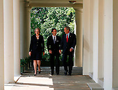 From left to right: United States Secretary of Education Margaret Spellings, 2008 National Teacher of the Year Mike Geisen, and US President George W. Bush arrive at the Rose Garden of the White House, Washington, April 30 2008. <br /> Credit: Aude Guerrucci / Pool via CNP