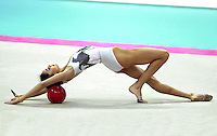 01 OCTOBER 1999 - OSAKA, JAPAN: Viktoria Danova of Bulgaria performs with ball at the 1999 World Championships in Osaka, Japan.  Viktoria placed 16th in the individual all-around.