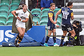10th September 2017, Sixways Stadium, Worcester, England; Aviva Premiership Rugby, Worcester Warriors versus Wasps; Josh Bassett of Wasps celebrates scoring a try
