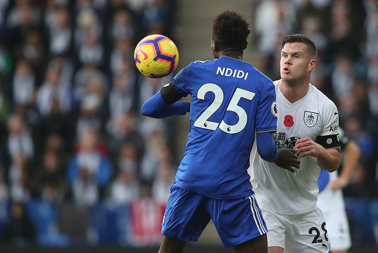 Leicester City's Wilfred Ndidi and Burnley's Kevin Long<br /> <br /> Photographer Rachel Holborn/CameraSport<br /> <br /> The Premier League - Saturday 10th November 2018 - Leicester City v Burnley - King Power Stadium - Leicester<br /> <br /> World Copyright © 2018 CameraSport. All rights reserved. 43 Linden Ave. Countesthorpe. Leicester. England. LE8 5PG - Tel: +44 (0) 116 277 4147 - admin@camerasport.com - www.camerasport.com