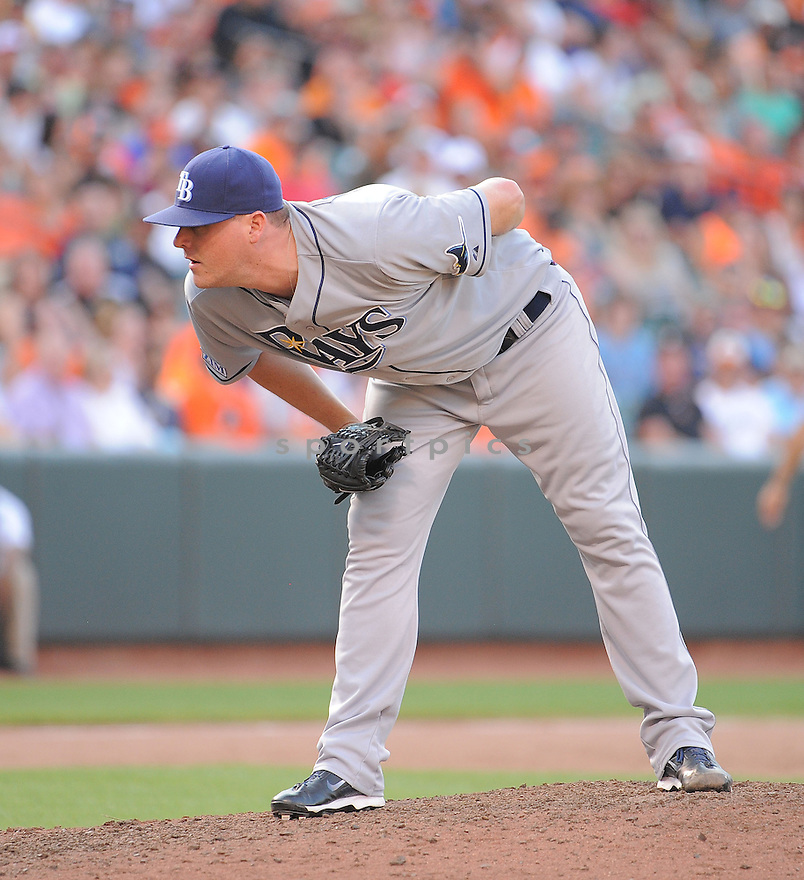 Tampa Bay Rays Jake McGee (57) during a game against the Baltimore Orioles on June 28, 2014 at Oriole Park in Baltimore, MD. The Rays beat the Orioles 5-4.