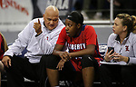 Liberty's Dre'una Edwards talks with assistant coaches during the NIAA state basketball tournament in Reno, Nev., on Friday, Feb. 23, 2018. Centennial won 74-65 in overtime. Cathleen Allison/Las Vegas Review-Journal