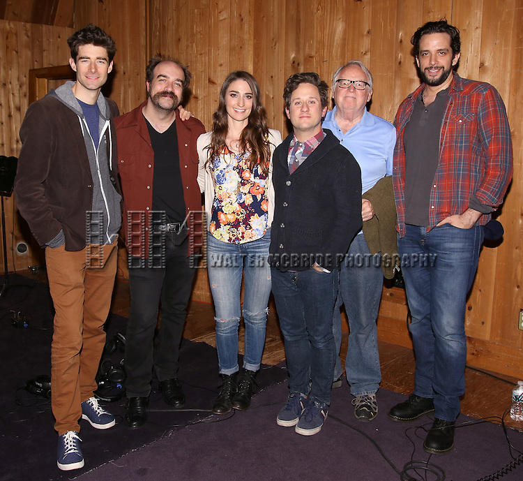 Drew Gehling, Eric Anderson, Sara Bareilles, Christopher Fitzgerald, Dakin Matthews and Nick Cordero attend the 'Waitress' Broadway cast recording at MSR Studios on May 2,, 2016 in New York City.