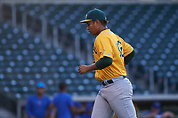 AZL Athletics Gold starting pitcher Gerald Garcia (32) jogs off the field between innings of an Arizona League game against the AZL Cubs 1 at Sloan Park on June 20, 2019 in Mesa, Arizona. AZL Athletics Gold defeated AZL Cubs 1 21-3. (Zachary Lucy/Four Seam Images)