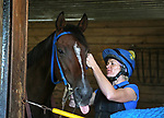Trainer Kate Dalton with Grade 1 Winner Diplomat at Westampton Farm and Training Center in Westampton, New Jersey