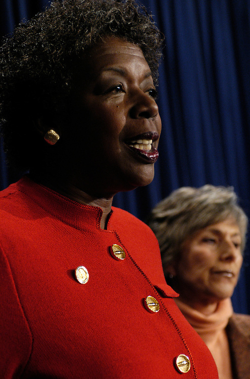 Rep. Stephanie Tubbs Jones, D-Ohio, and Sen. Barbara Boxer, D-Ca., at a news conference announcing their plans to protest the results of the Electoral College votes from Ohio,  thus delaying continuation of the official Electoral vote counting.
