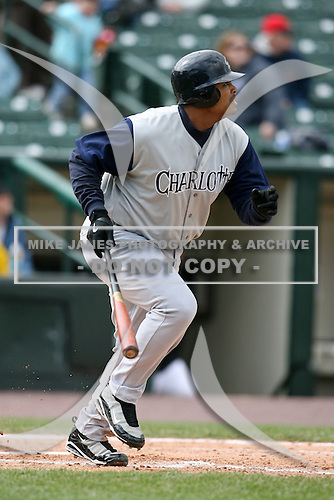 May 10, 2009:  Designated Hitter Daryle Ward of the Charlotte Knights, Triple-A International League affiliate of the Chicago White Sox, at bat during a game at Frontier Field in Rochester, NY.  Photo by:  Mike Janes/Four Seam Images