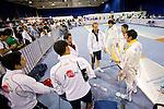 Japan team group (JPN),<br /> AUGUST 11, 2013 - Fencing :<br /> World Fencing Championships Budapest 2013, Men's Team Epee Round of 32 at Syma Hall in Budapest, Hungary. (Photo by Enrico Calderoni/AFLO SPORT) [0391](R to L) Kazuyasu Minobe, Keisuke Sakamoto, Satoru Uyama,   Oleksandr Gorbachuk, Yoshiki Hirano