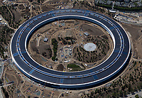 aerial photograph Apple Park under construction, Cupertino, Santa Clara County, California