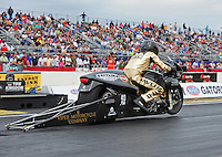 Mar. 10, 2012; Gainesville, FL, USA; NHRA pro stock motorcycle rider Michael Ray during qualifying for the Gatornationals at Auto Plus Raceway at Gainesville. Mandatory Credit: Mark J. Rebilas-
