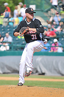 Dan Turpen (31) of the New Britain Rock Cats delivers a pitch during a game against the Binghamton Mets at New Britain Stadium on June 1, 2014 in New Britain, Connecticut.  New Britain defeated Binghamton 6-1.  (Gregory Vasil/Four Seam Images)