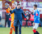15.12.2019 Motherwell v Rangers: Steven Gerrard with Allan McGregor and James Tavernier at full time