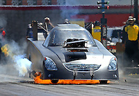 Apr 11, 2015; Las Vegas, NV, USA; NHRA funny car driver Terry Haddock suffers a fire following an engine explosion during qualifying for the Summitracing.com Nationals at The Strip at Las Vegas Motor Speedway. Mandatory Credit: Mark J. Rebilas-