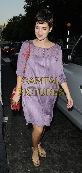 Pixie Geldof<br /> attended the Links of London friendship bracelets range collection launch party, Links of London, Sloane Square, London, England, UK, 6th June 2013.<br /> full length purple dress leopard print sandals open toe wedges red bag  <br /> CAP/CAN<br /> &copy;Can Nguyen/Capital Pictures
