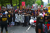 Washington, DC - August 12, 2018: Black Lives Matter, the BYP100 and other protesters gather near the White House in Washington, D.C. to oppose the Unite the Right rally in Lafayette Park August 12, 2018.  (Photo by Don Baxter/Media Images International)