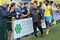 Tom Loizou manager of Haringey gives the customary handshake to the fans during Haringey Borough vs Corinthian Casuals, BetVictor League Premier Division Football at Coles Park Stadium on 10th August 2019