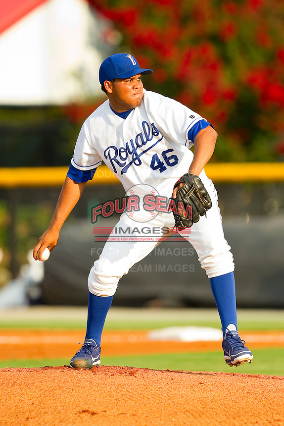 Burlington Royals starting pitcher Yender Caramo (46) in action against the Danville Braves at Burlington Athletic Park on July 19, 2012 in Burlington, North Carolina.  The Royals defeated the Braves 4-3.  (Brian Westerholt/Four Seam Images)