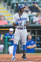 Omaha Storm Chasers center fielder Orlando Calixte (3) steps to the plate during a game against the Oklahoma City Dodgers at Chickasaw Bricktown Ballpark on June 16, 2016 in Oklahoma City, Oklahoma. Oklahoma City defeated Omaha 5-4  (William Purnell/Four Seam Images)