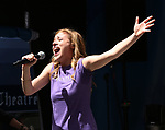 Christy Atomare on stage at United Airlines Presents #StarsInTheAlley free outdoor concert in Shubert Alley on 6/2/2017 in New York City.