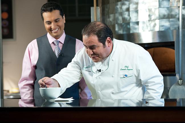 January  04, 2012 - Bristol, CT - ESPN Café: SportsCenter with Chef Emeril Lagasse and Kevin Negandhi ..Credit: Joe Faraoni/ESPN